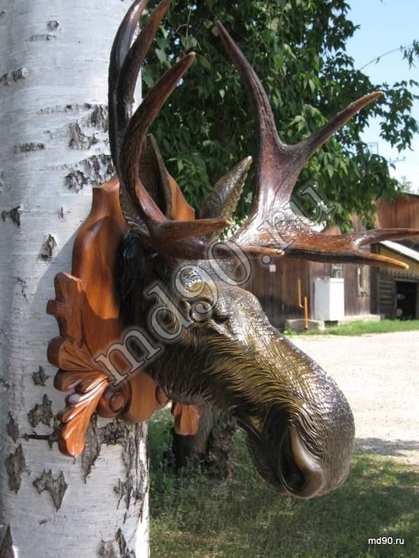 Деревянная голова лося